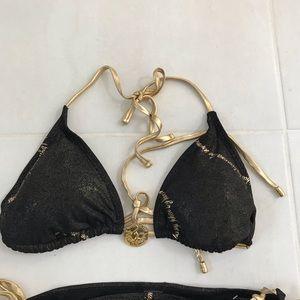 Baby Phat Swim - Baby Phat Gold Metallic Black Bikini
